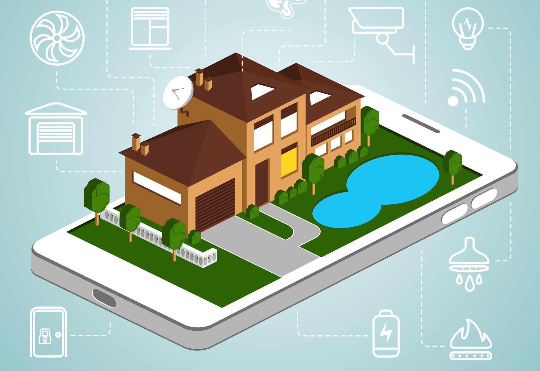 Логотип «умный» дом – близкая перспектива